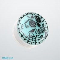 Glow in the Dark Day of the Dead Sugar Skull Web Single Flared Plug