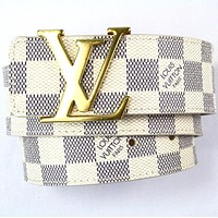 Men's LOUIS VUITTON LV Damier Azur Initial Belt Size 32/80 cm White CHECKERED