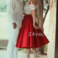 Red 2 Pieces Short Lace Prom Dresses, Evening Dress