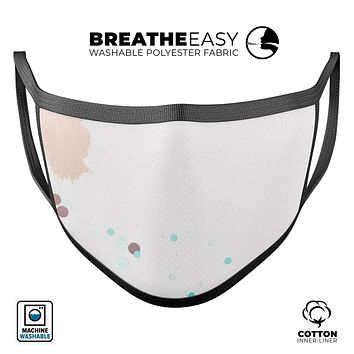 Abstract Scattered Teal Dots with Paint Spill - Made in USA Mouth Cover Unisex Anti-Dust Cotton Blend Reusable & Washable Face Mask with Adjustable Sizing for Adult or Child