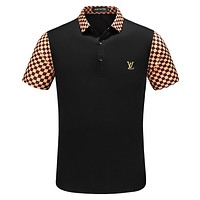 LV Louis Vuitton 2018 summer tide brand fashion wild men's lapel T-shirt F-A00FS-GJ black