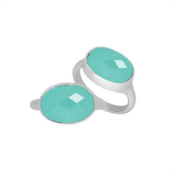 AR-6160-CH.G-6'' Sterling Silver Oval Shape Ring With Green Chalcedony Q.