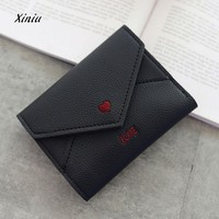 New Fashion Colorful Lady Lovely Coin Purse Solid Heart Clutch Wallet Large Capacity Zipper Women Small Bag Cute Card Holdr