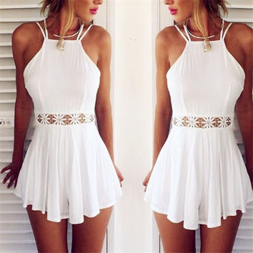 New 2015 Women's Fashion Rompers White Sleeveless Sexy Backless Highwaisted Mini Jumpsuit = 5709578817