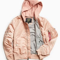 Alpha Industries X UO Monochromatic Hooded L-2B Bomber Jacket - Urban Outfitters
