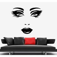 Wall Stickers Vinyl Decal Fashion Sexy Lips Eyes Hair Spa Beauty Salon Unique Gift EM417