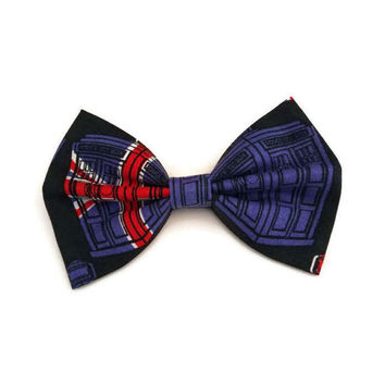 Dr Who Hair Bow • Doctor Who Bow • Union Jack Bow • UK Hair Bow • Tardis Hairbow • Gifts For Women • Tardis Bow • Christmas Gifts • GB Bow