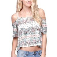 LA Hearts Cold Shoulder Swing Top - Womens Tee - Tribal