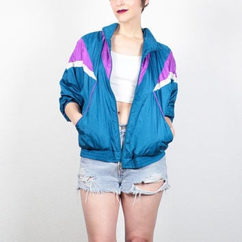 Vintage 80s Windbreaker Jacket Sporty 1980s Track Jacket New Wave Color Block Teal Blue Purple Bomber Jacket Wind Breaker Jacket M Medium