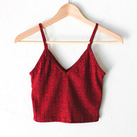Knit V-neck Cami Crop Top - Burgundy