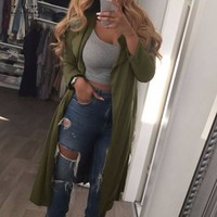 Lapel Trench Casual Loose Solid Long Cardigan Solid Outerwear