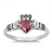 925 Sterling Silver CZ Claddagh Grace Simulated Garnet Ring 10MM