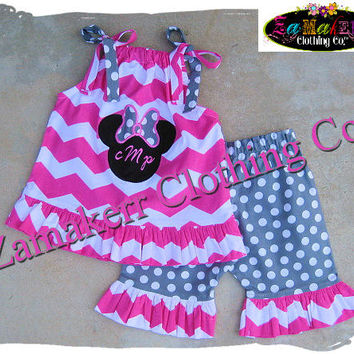 Custom Boutique Clothing Girl Minnie Mouse Outfit Set Pink Chevron Pant Gift Birthday Short Capri Size 6 9 12 18 24 month 2T 3T 4T 5T 6 7 8