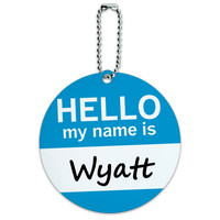 Wyatt Hello My Name Is Round ID Card Luggage Tag