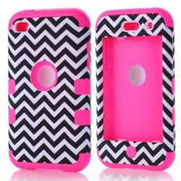 SHHR Luxury 3 in 1 Chevron Pattern Design Hybrid case for iPod Touch 4th Generation-Hot Pink Silicone