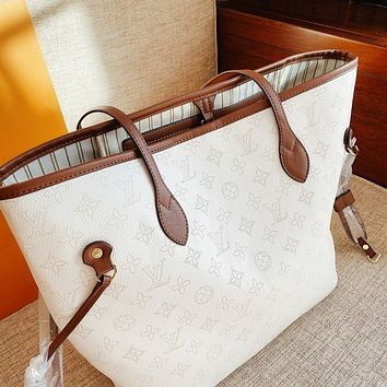 LV New fashion monogram print leather shoulder bag handbag two piece suit
