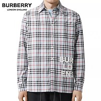 BURBERRY Classic Hot Sale Men Women Casual Plaid Long Sleeve Shirt Top