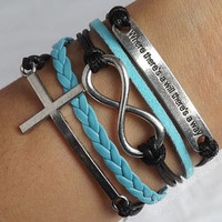 """Antique silver """"where there's a will there's a way"""" bracelet, cross & infinite causal relationship bracelet, leather woven bracelet  J-121"""
