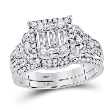 14k White Gold Baguette Diamond Bridal Wedding Ring Set 1 Cttw
