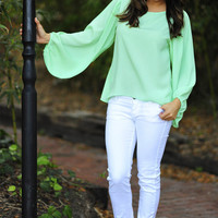 Stay With Me Blouse: Mint Green | Hope's