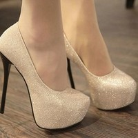 FREE SHIPPING Sparkling gold pink black silver womens pump formal wedding bridesmaid prom bride shoes heels