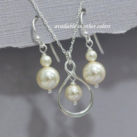 Sterling Silver Infinity and Ivory Pearl Necklace and Earring Set, Bridesmaid Jewelry, Bridesmaid Gift (Available in Other Colors)