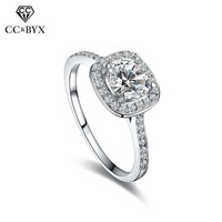 CC Jewelry Sterling-silver-jewelry Square Ring Engagement Wedding Rings for Women Vintage Anillo Bijoux Bague Fashion Anel CC035