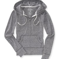 Aeropostale  Womens Heathered Lightweight Full-Zip Slim Fit Hoodie