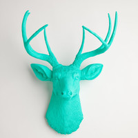 The Penelope - Turquoise Resin Deer Head- Stag Resin Turquoise Faux Taxidermy- Chic & Trendy