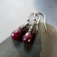 Ruby Sterling silver earrings, natural jewelry, dangle earrings, autumn jewelry