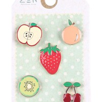 Fruit Cherries Peach Pin Brooch Set