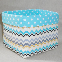 Pretty Aqua, Black and Gray Chevron Fabric Basket