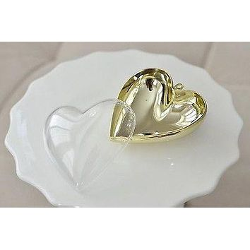 3 Plastic Heart Shaped Containers Clear with Gold Chrome Favor Box Gift Jewelry Box