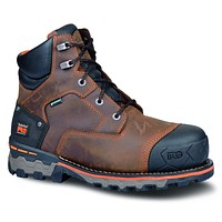 """Timberland PRO Men's Boondock 6"""" Waterproof Non-Insulated Work Boot 9 Brown Oiled Distressed"""