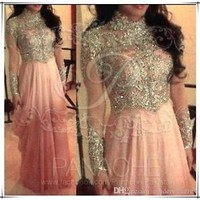Sexy Crystal Long Formal Evening Dress A Line Celebrity Pageant Party Prom Gown