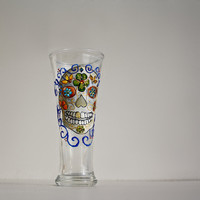 Sugar Scull Hand Painted Glass  Day of the Dead (Dia de los Muertos) Beer Juice Gift for Men Personalized