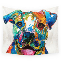 Society6 Colorful Dog Pit Bull Art Happy By Sharo Wall Tapestry