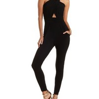 Black Backless Ruched Wrap Jumpsuit by Charlotte Russe