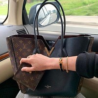 LV Louis Vuitton Classic stitching two-color large-capacity tote bag Fashion women tote bag Shoulder bag