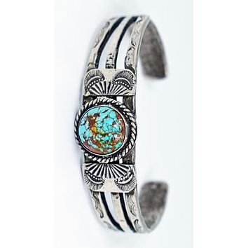 Vicki Orr Vintage #8 Turquoise Hand-Forged Sterling Silver Cuff