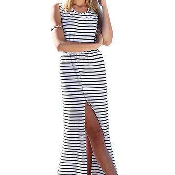 Black and White Striped Open Back Hem Dress