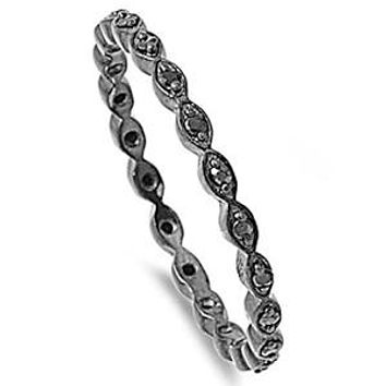 Sterling Silver Black CZ Oval Eternity Ring