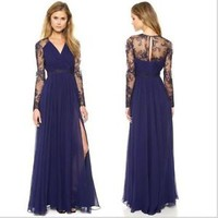 Sexy Long Chiffon Evening Formal Party Cocktail Lace Dress Bridesmaid Prom Gown