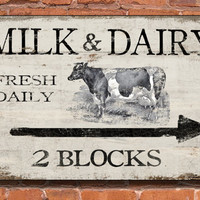 Milk and dairy wooden sign - handmade - Approx. 13x19x3/4 inches.