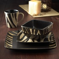 Safari Zebra White 16 Piece Dinnerware Set | www.hayneedle.com