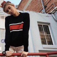 Knit Stripes Long Sleeve Sweater [69652217871]