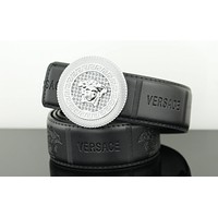Versace belt men's double-sided leather waist fashion wild smooth buckle belt black/silver