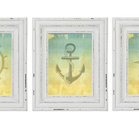 PRINTABLE Set of 3 Vintage Nautical Picture Prints for your bathroom beach home or any room you want a vintage nautical navy decor Digital