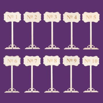 Wooden Wedding Table Numbers 1-10