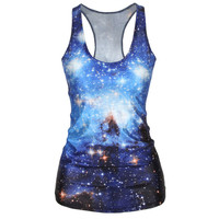 Summer T Shirt Women Blue Galaxy 3D Star Vests Sexy Bodybuilding Fashion Printing Clothes Sport Gym Casual Tank Tops